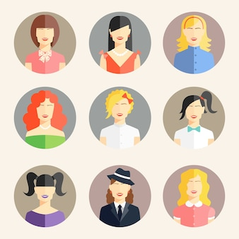 Colección de vectores de avatares de mujeres en estilo plano