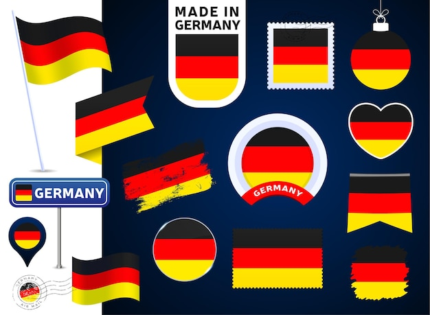 Colección de vectores de bandera de alemania. gran conjunto de elementos de diseño de la bandera nacional en diferentes formas para las fiestas públicas y nacionales en estilo plano. post marca, hecho en, amor, círculo, señal de tráfico, ola