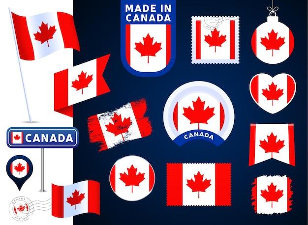 Colección de vectores de bandera de canadá. gran conjunto de elementos de diseño de la bandera nacional en diferentes formas para las fiestas públicas y nacionales en estilo plano. post marca, hecho en, amor, círculo, señal de tráfico, ola