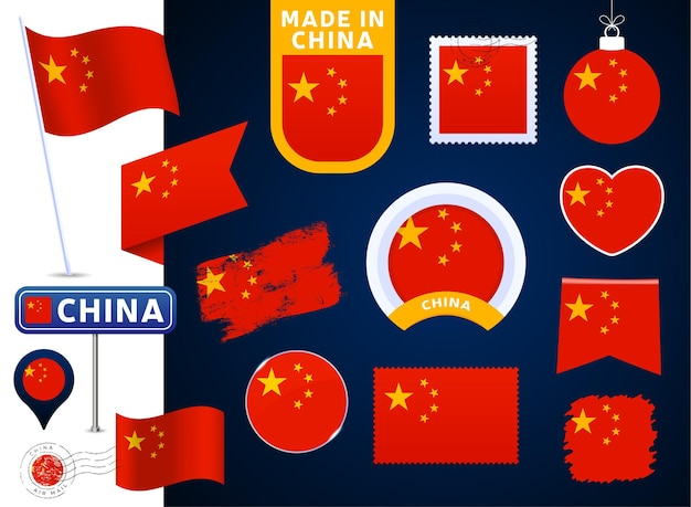Colección de vectores de bandera de china. gran conjunto de elementos de diseño de la bandera nacional en diferentes formas para las fiestas públicas y nacionales en estilo plano. post marca, hecho en, amor, círculo, señal de tráfico, ola