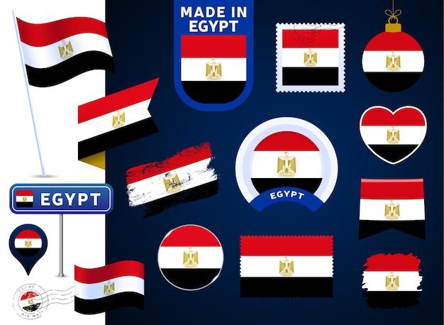 Colección de vectores de bandera de egipto. gran conjunto de elementos de diseño de la bandera nacional en diferentes formas para las fiestas públicas y nacionales en estilo plano. post marca, hecho en, amor, círculo, señal de tráfico, ola