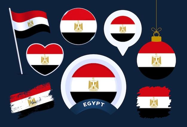 Colección de vectores de bandera de egipto. gran conjunto de elementos de diseño de la bandera nacional en diferentes formas para las fiestas públicas y nacionales en estilo plano.