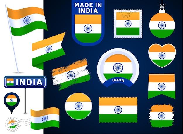 Colección de vectores de la bandera de la india. gran conjunto de elementos de diseño de la bandera nacional en diferentes formas para las fiestas públicas y nacionales en estilo plano. post marca, hecho en, amor, círculo, señal de tráfico, ola