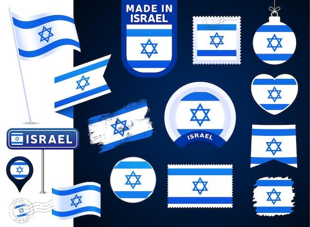 Colección de vectores de bandera de israel. gran conjunto de elementos de diseño de la bandera nacional en diferentes formas para las fiestas públicas y nacionales en estilo plano. post marca, hecho en, amor, círculo, señal de tráfico, ola