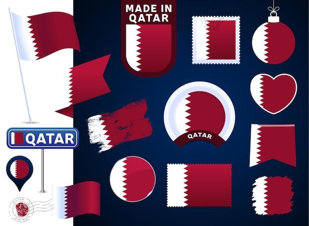 Colección de vectores de bandera de qatar. gran conjunto de elementos de diseño de la bandera nacional en diferentes formas para las fiestas públicas y nacionales en estilo plano. marca postal, hecho en, amor, círculo, señal de tráfico, ola