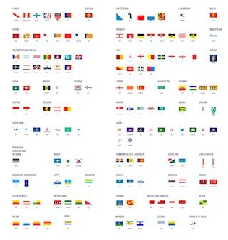 Colección de vectores de banderas de ciudades con subtítulos