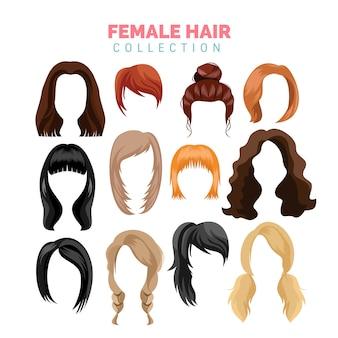 Colección de vectores de cabello femenino
