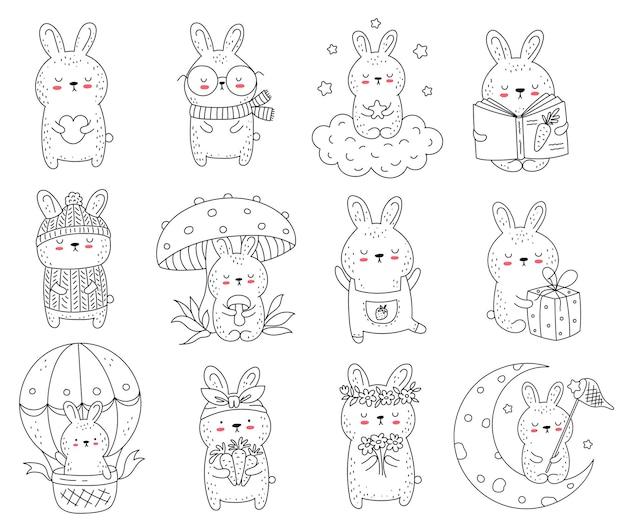 Colección de vectores de conejos lindos de dibujo lineal. ilustración de doodle. vacaciones, baby shower, cumpleaños, fiesta infantil, tarjetas de felicitación, decoración de guardería
