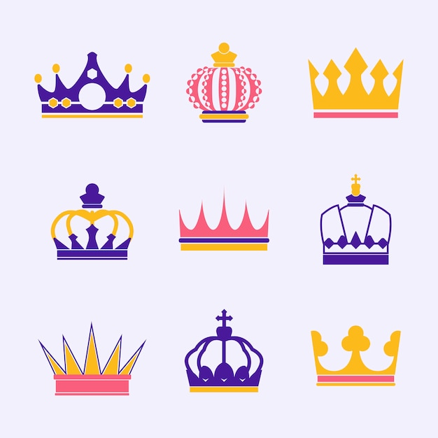 Colección de vectores de corona real.