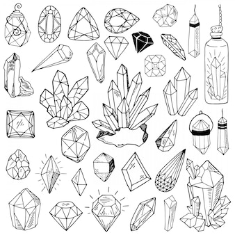 Colección de vectores de cristales de línea negra o gemson blanco