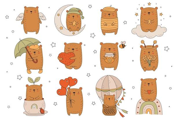 Colección de vectores de dibujo de líneas lindos osos. ilustración de doodle. vacaciones, baby shower, cumpleaños, fiesta infantil, tarjetas de felicitación, decoración de guardería