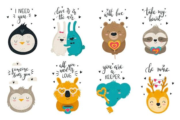 Colección de vectores de dibujo a mano de animales lindos y eslóganes encantadores conjunto de ilustraciones de doodle