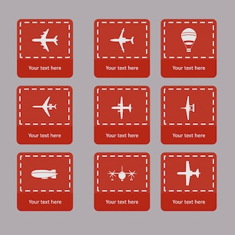 Colección de vectores diferentes siluetas de avión.