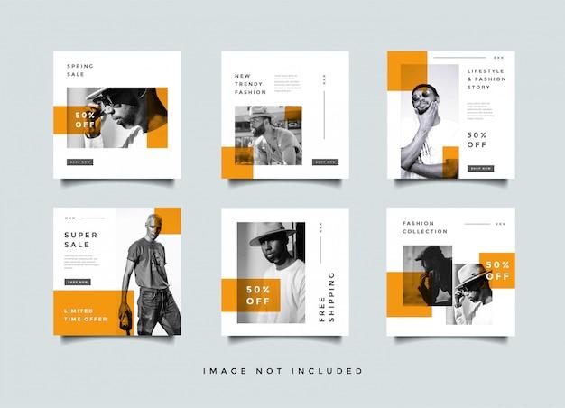 Colección de vectores de diseño de promoción de publicaciones de medios sociales de moda
