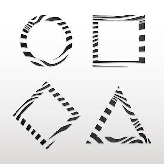 Colección de vectores de distintivo abstracto blanco y negro