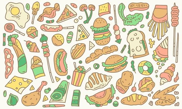 Colección de vectores de doodle de alimentos