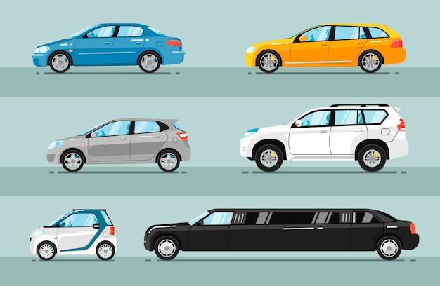 Colección de vectores de estilo plano de automóviles de pasajeros