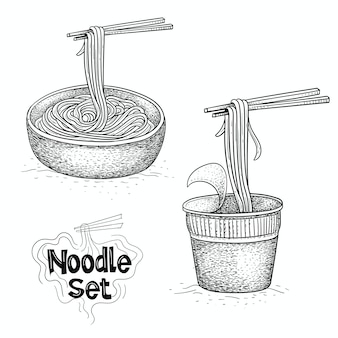 Colección de vectores de fideos, ilustración de comida en estilo dibujado a mano
