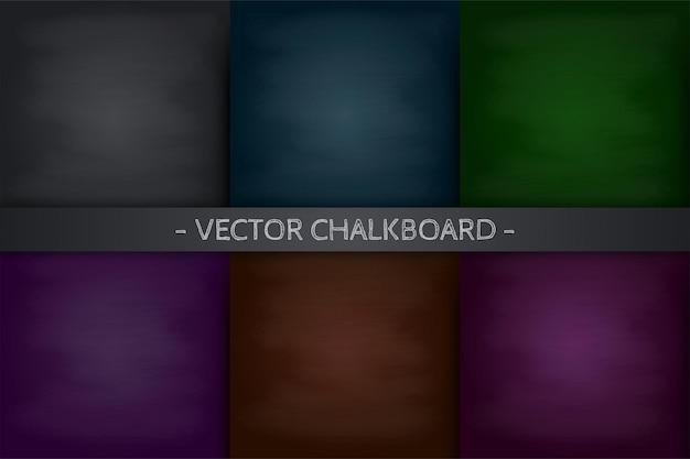 Colección de vectores de fondos de pizarra de la escuela