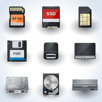 Colección de vectores de iconos de almacenamiento de datos. discos, tarjetas, accionamientos miniaturas realistas.