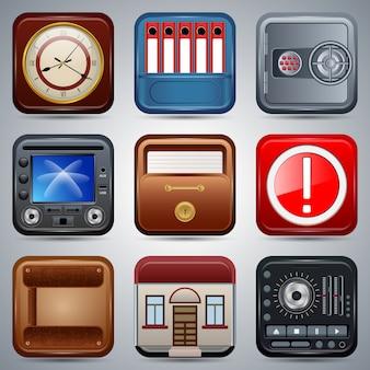 Colección de vectores de iconos cuadrados de aplicación