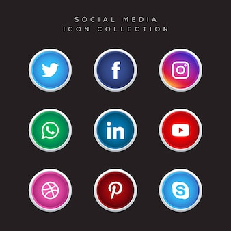 Colección de vectores de iconos de redes sociales