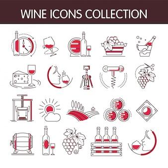 Colección de vectores de iconos de vino para la industria de producción de bodegas o bodegas