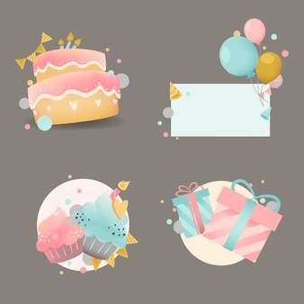 Colección de vectores de insignia de cumpleaños colorido