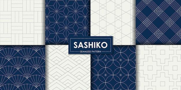 Colección de vectores de patrones sin fisuras sashiko japonés