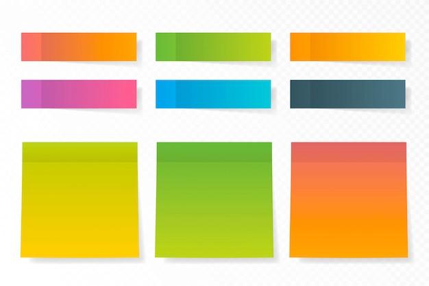 Colección de vectores de pegatinas de papel de diferentes colores.