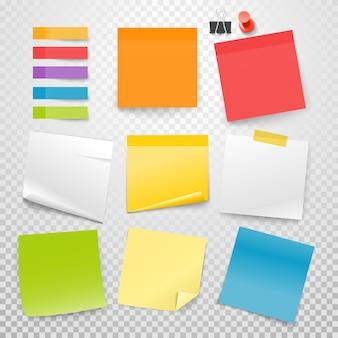 Colección de vectores de pegatinas de papel de muchos colores en blanco