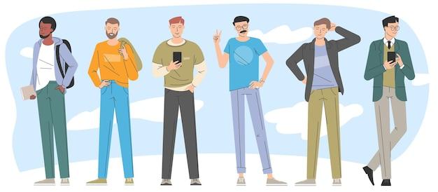 Colección de vectores de personajes de moda de diseño plano de hombres jóvenes.