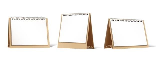 Colección de vectores de planificadores de mesa de cartón o calendarios.