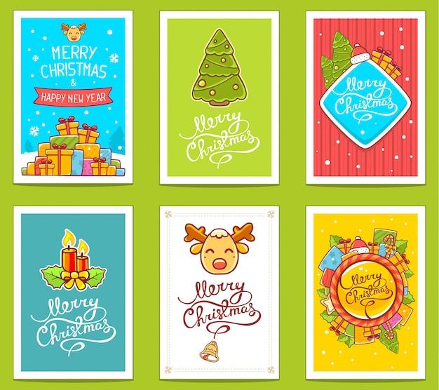 Colección de vectores de plantillas de navidad con texto escrito a mano sobre fondo brillante.