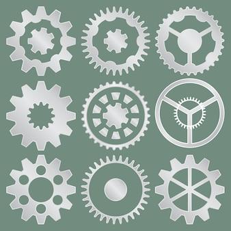 Colección de vectores de ruedas dentadas de aluminio.