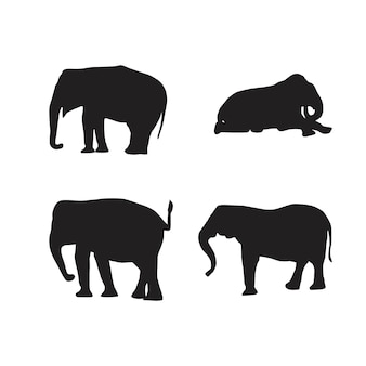 Colección de vectores de silueta de animales de elefante