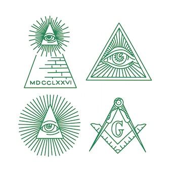 Colección de vectores de símbolos masones. el ojo que todo lo ve