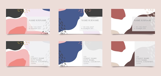 Colección de vectores de tarjetas de visita con dibujos