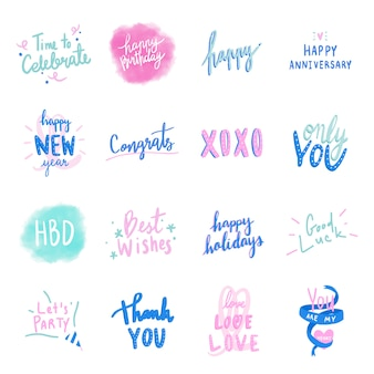 Colección de vectores de tipografía de amor colorido