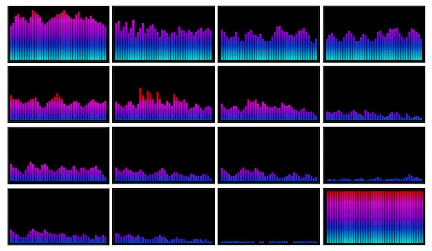 Colección de vectores de visualización de ondas de sonido en colores vivos de ecualizador. recurso gráfico para diseño sobre tema musical y visualizador de audio.