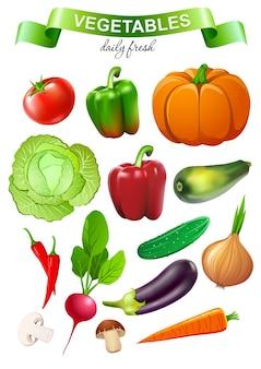 Colección de vegetales coloridos para productos publicitarios del mercado de alimentos