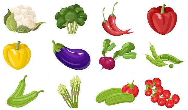 Colección de vegetales frescos de granja.