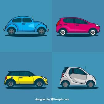 Colección de vehículos planos de color