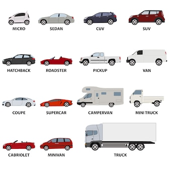 Colección de vehículos de transporte
