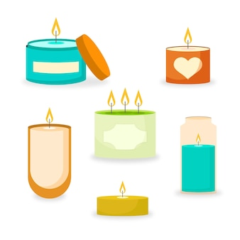 Colección de velas aromáticas dibujadas
