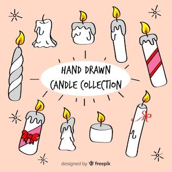 Colección velas dibujadas a mano