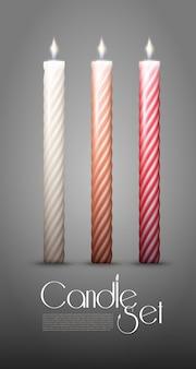 Colección de velas encendidas trenzadas coloridas