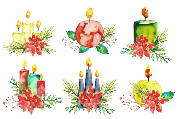 Colección de velas de navidad de acuarela