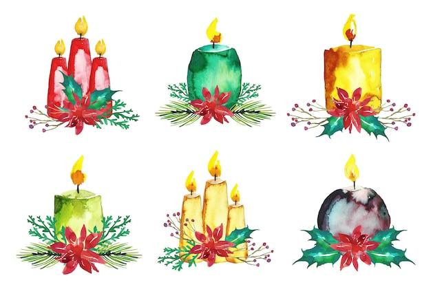 Colección de velas de navidad en acuarela