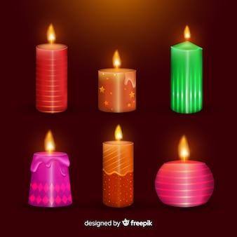 Colección velas navidad coloridas